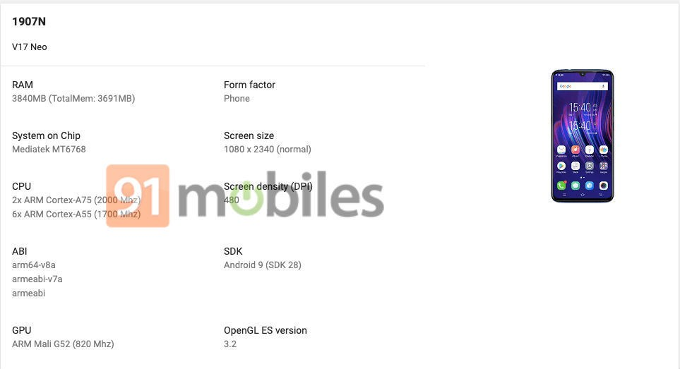Vivo V17 Neo comes with MediaTek Helio P65 With 4GB Ram
