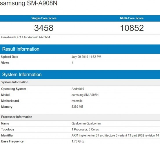 Samsung Galaxy A90 5G spotted on the Geekbench with snapdragon 855 Soc