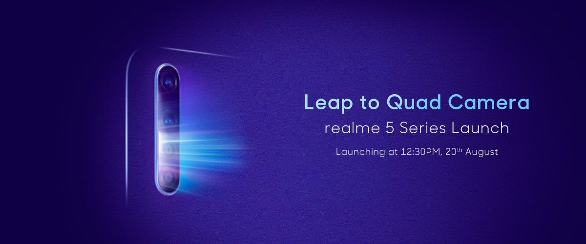 Realme 5 series launching in India On 22 August 2019 with 48MP Quad camera