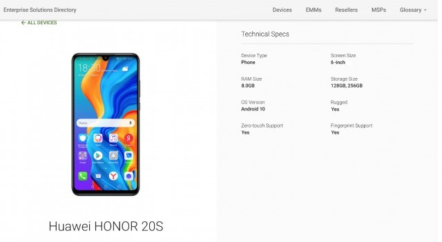 Honor 20S listed On Google Play Console, with Android 10, Full Specs