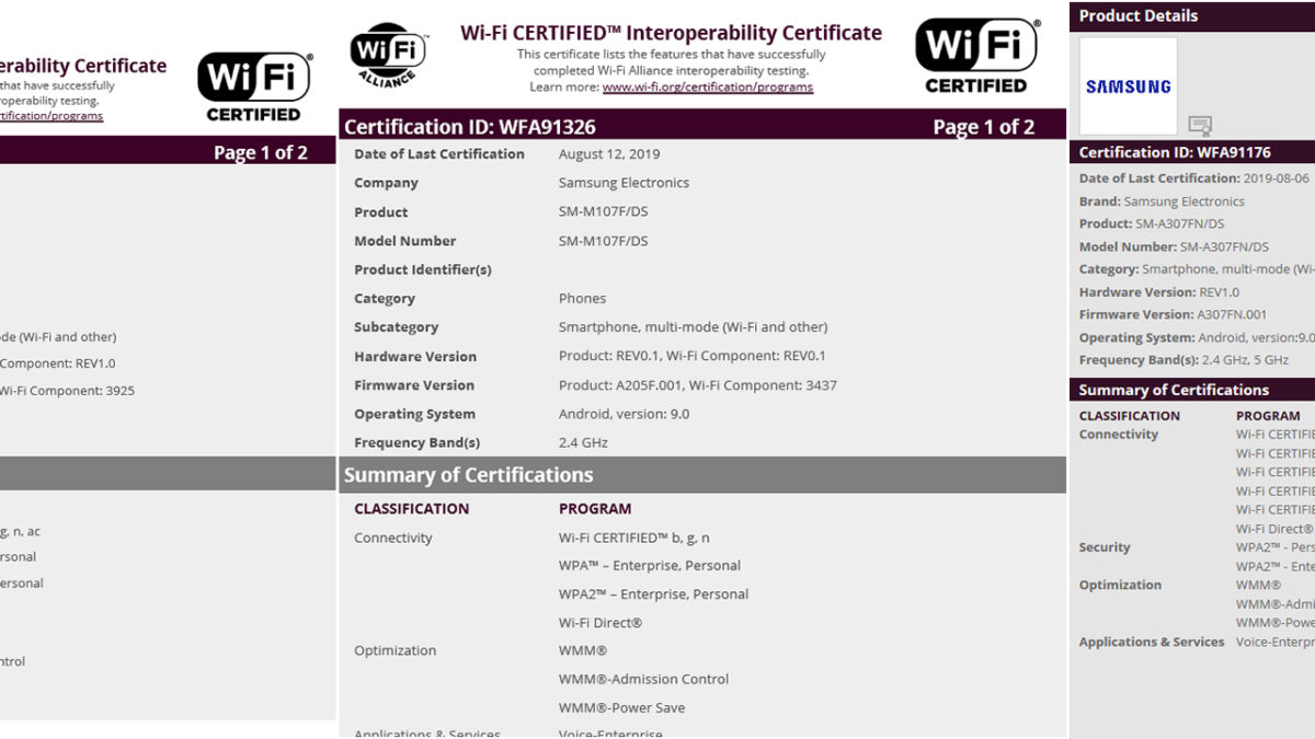Samsung galaxy M10s, A30s and A50s Spotted on Wi-Fi Alliance