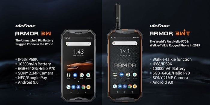 Ulefone Armor 3W and 3WT with large 10,300mAh, Helio P70 and Antutu