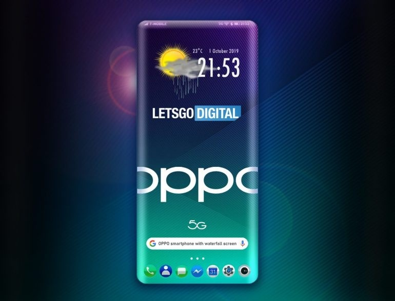 Oppo Patent a 4 sides Wrap-around Display under '3D waterfall' display
