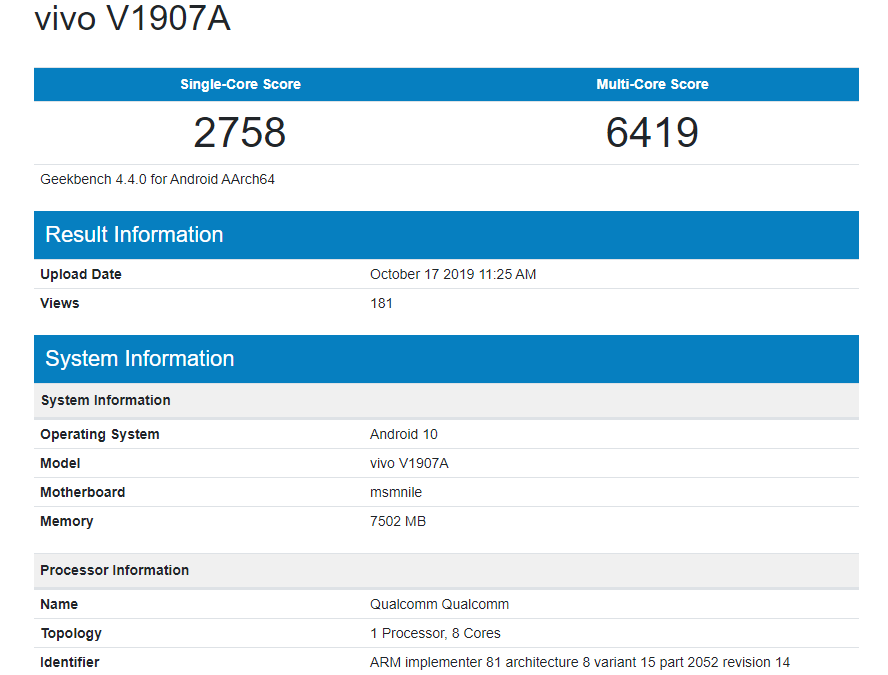 Vivo V1907A Spotted On GeeKbench with Android 10 and Snapdragon 855 Soc