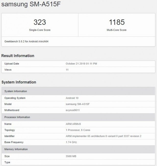 Samsung Galaxy A51 with Exynos 9611 Soc listed on Geekbench