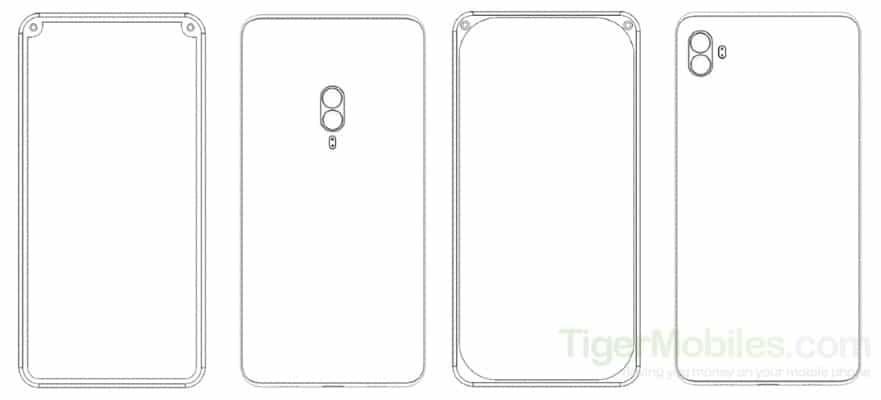 Xiaomi patents 4 unique Patent with dual front camera Inside Corner Bezel