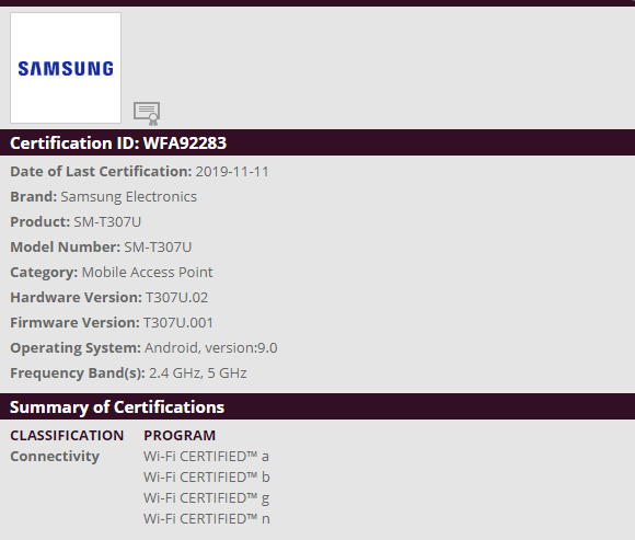 Samsung SM-T307 Tablet certified by the Wi-Fi and BIS ahead of Launch