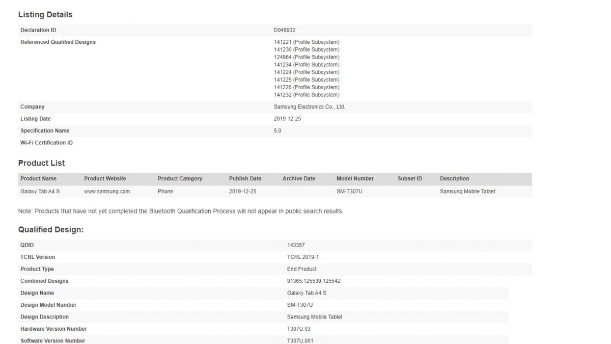 Samsung Galaxy Tab A4 s Get Bluetooth Certified