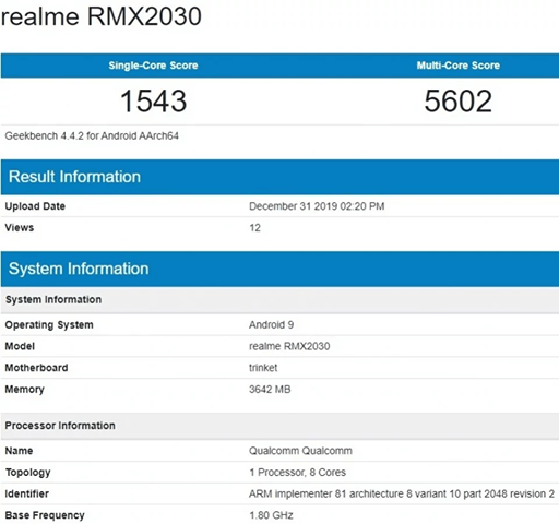 Realme 5i Listed on Geekbench Ahead Of Launch, Full Specification