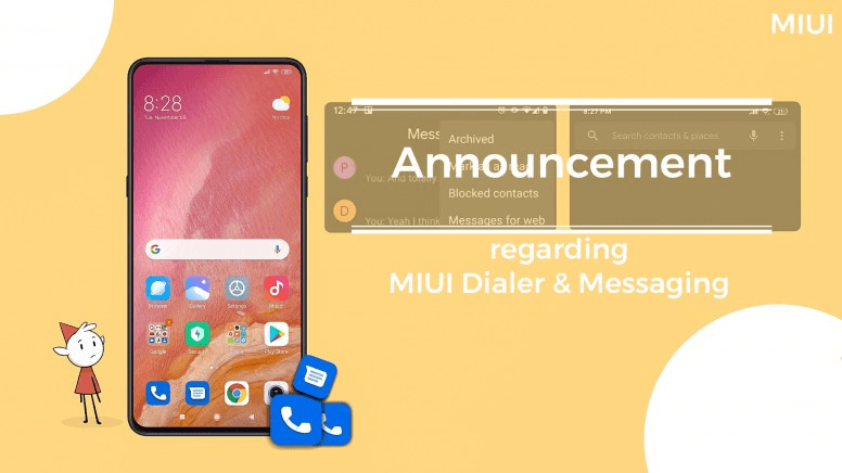 Xiaomi Announce pre-install Google's Phone and Messages apps in MIUI