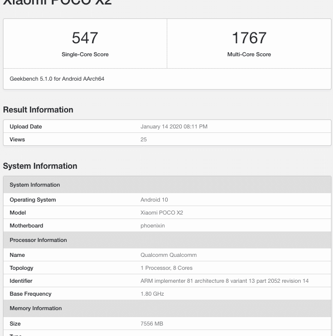 Poco X2 listed On Geekbench with Android 10 and 8GB RAM, It could Be Rebranded Redmi K30