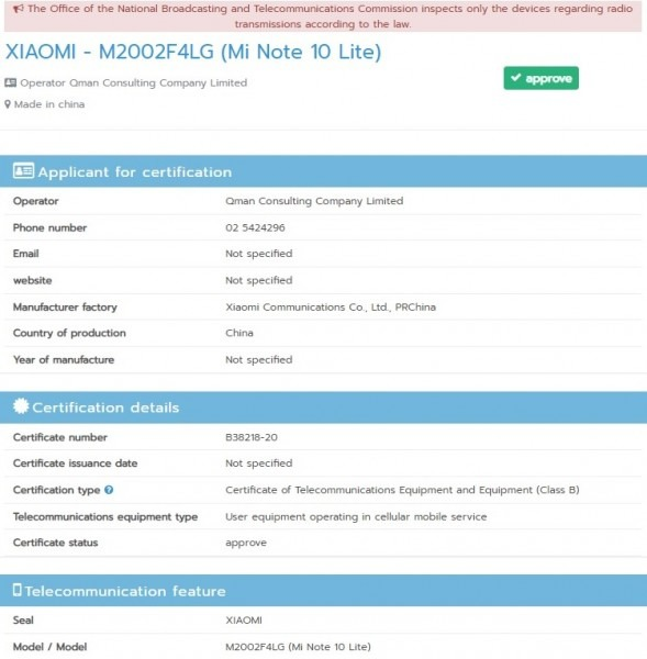 Xiaomi Mi Note 10 lite get it's Certification on NBTC Revealed key specs