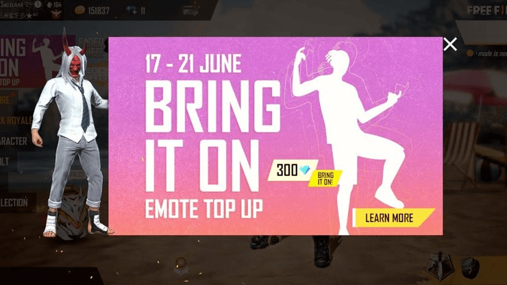 """How to unlock the """"Bring it on"""" Emote in Free Fire with Top-up Event"""