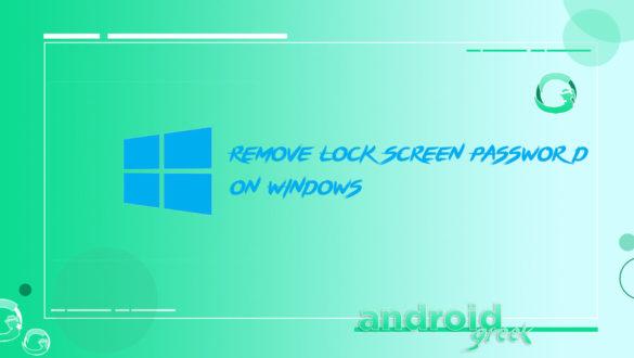 remove password on Windows