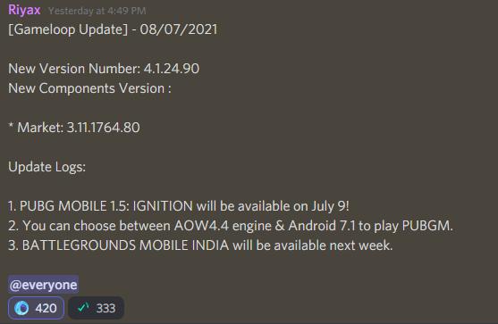 Gameloop previous bgmi update