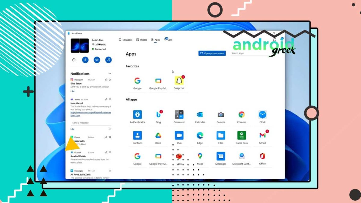 Microsoft's newly released Your Phone New User Interface with a Windows 11